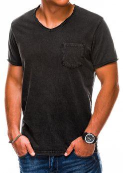Juodi vienspalviai vyriški marškinėliai internetu pigiau S1037 13761-1