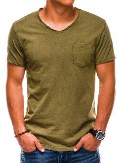 Chaki vienspalviai vyriški marškinėliai internetu S1037 13762-1
