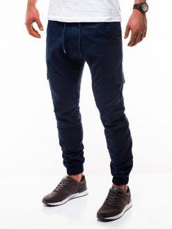 Tamsiai mėlynos jogger vyriškos kelnės internetu pigiau P333 2182-3