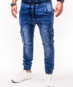 Jogger mėlyni džinsai vyrams su cargo kišenėmisLuksi P410 2307-1