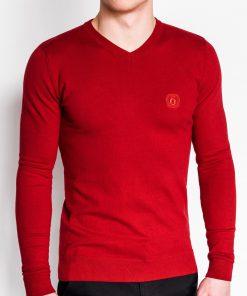 Raudonas vyriškas megztinis internetu pigiau Ombre E74 2382-1