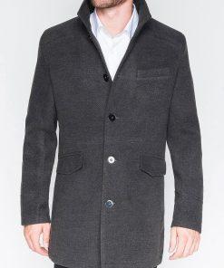 Stilingas tamsiaipilkas paltas vyrams internetu pigiau Victor C25 2395-1