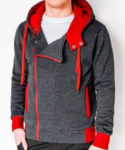 Tamsiai pilkas-raudonas vyriškas džemperis su gobtuvu internetu pigiau B297 2421-1