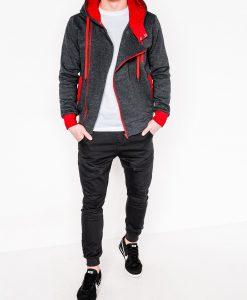 Tamsiai pilkas-raudonas džemperis vyrams su gobtuvu internetu pigiau B297 2421-2