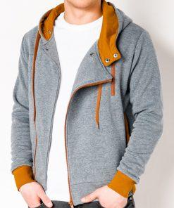 Pilkas-rudas vyriškas džemperis su gobtuvu internetu pigiau B297 2422-1