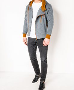 Pilkas-rudas džemperis vyrams su gobtuvu internetu pigiau B297 2422-2