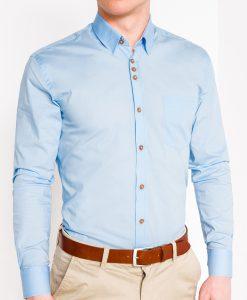 Šviesiai mėlyni marškiniai vyrams ilgomis rankovėmis internetu pigiau Soto K302 2547-1