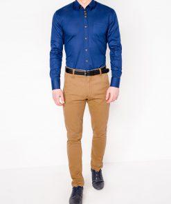 Tamsiai mėlyni vyriški marškiniai ilgomis rankovėmis internetu pigiau Soto K302 2548-1