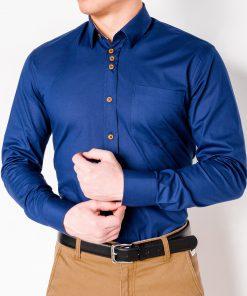 Tamsiai mėlyni marškiniai vyrams ilgomis rankovėmis internetu pigiau Soto K302 2548-3