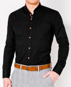 Juodi marškiniai vyrams ilgomis rankovėmis internetu pigiau Soto K302 2550-1