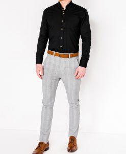 Juodi vyriški marškiniai ilgomis rankovėmis internetu pigiau Soto K302 2550-2