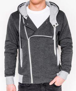 Tamsiai pilkas vyriškas džemperis su gobtuvu internetu pigiau B297 336-1