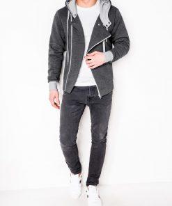 Tamsiai pilkas džemperis vyrams su kapisonu internetu pigiau B297 336-2