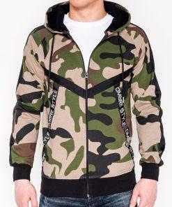 Chaki kamufliažinis vyriškas džemperis su gobtuvu internetu pigiau B775 7400-1