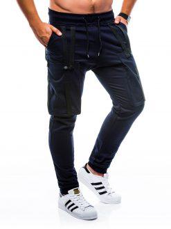 Tamsiai mėlynos jogger vyriškos kelnės internetu pigiau P671 7444-1