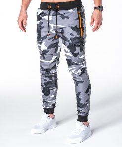 Stilingos pilkos kamufliažinės sportinės kelnės vyrams internetu pigiau P657 7803