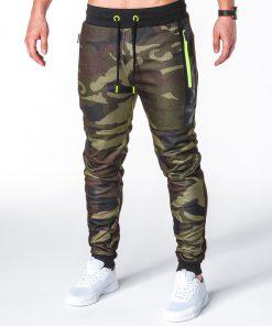 Stilingos žalios kamufliažinės sportinės kelnės vyrams internetu pigiau P657 7804