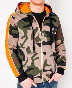 Žalias kamufliažinis vyriškas džemperis su gobtuvu internetu pigiau B797 8199-1