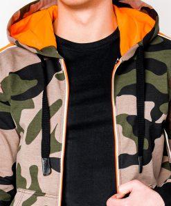 Žalias kamufliažinis džemperis vyrams su gobtuvu internetu pigiau B797 8199-3