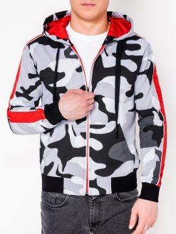 Pilkas kamufliažinis vyriškas džemperis su gobtuvu internetu pigiau B797 8200-1