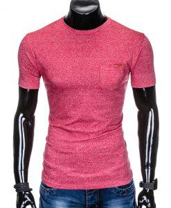 Raudoni vienspalviai marškinėliai vyrams internetu pigiau S885 8611-1