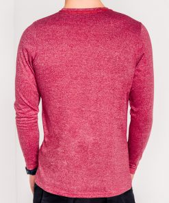 Raudoni vyriški marškinėliai ilgomis rankovėmis internetu pigiau Draf L103 8689-4