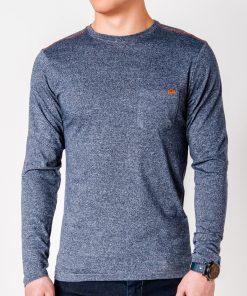Tamsiai mėlyni marškinėliai vyrams ilgomis rankovėmis internetu pigiau Draf L103 8696