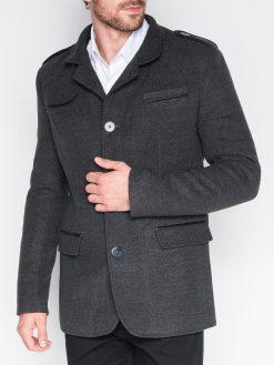 Stilingas tamsiai pilkas vyriškas paltas internetu pigiau Augustin C92 943-1