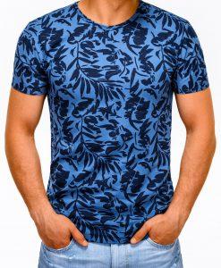 Gėlėti tamsiai mėlyni marškinėliai vyrams su aplikacijomis internetu pigiau S1170 13498-1