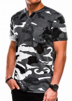 Žali-oranžiniai kamufliažiniai vyriški marškinėliai internetu pigiau S1040 13221-3