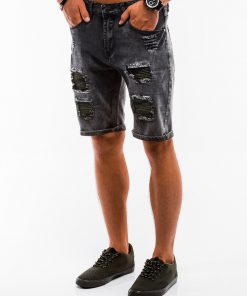 Juodi vyriški džinsiniai šortai internetu pigiau W130 13788-2