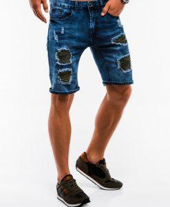 Tamsiai mėlyni džinsiniai šortai vyrams internetu pigiau W130 13789-3