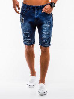 Tamsiai mėlyni džinsiniai šortai vyrams internetu pigiau W131 13790-1