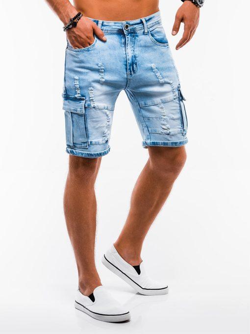Šviesiai mėlyni džinsiniai šortai vyrams internetu pigiau W132 13793-3