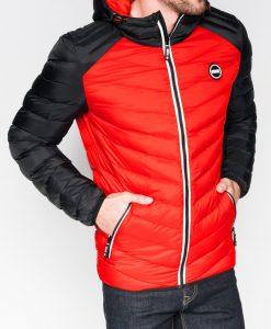 Raudona pavasarinė vyriška striukė internetu pigiau Ralf C366 10539-1