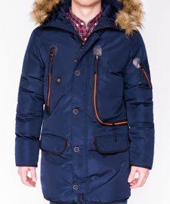 Tamsiai mėlyna žieminė vyriška striukė internetu pigiau Goslin C369 11049-1