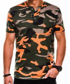 Žali-oranžiniai kamufliažiniai vyriški marškinėliai internetu pigiau S1040 13222-1