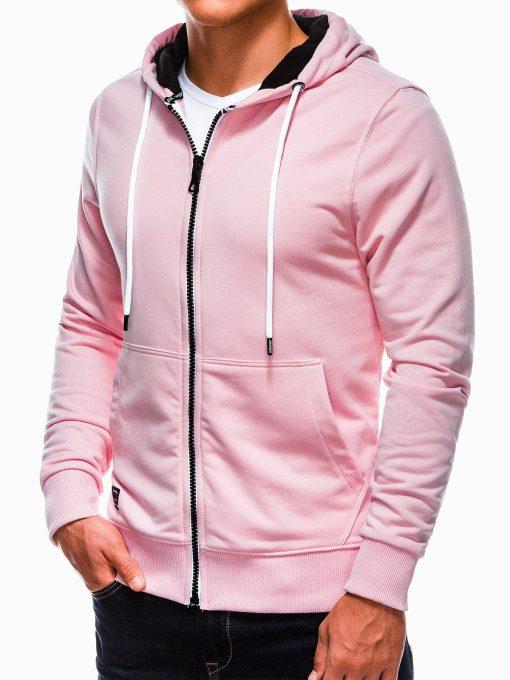Šviesiai rožinis vyriškas džemperis su gobtuvu internetu pigiau B976 13749-5