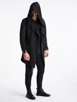 Juodas vyriškas kardiganas su gobtuvu internetu pigiau B961 13941-4