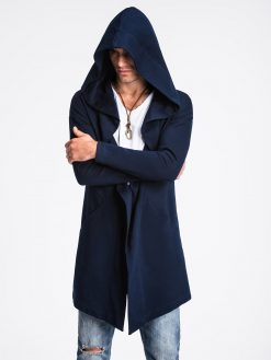 Tamsiai mėlynas vyriškas kardiganas su gobtuvu internetu pigiau B961 13942-4