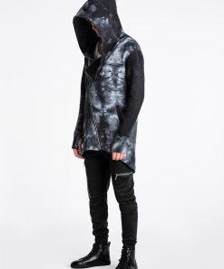Margas juodas vyriškas kardiganas su gobtuvu internetu pigiau B962 13951-1