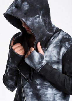 Margas juodas kardiganas vyrams su gobtuvu internetu pigiau B962 13951-2