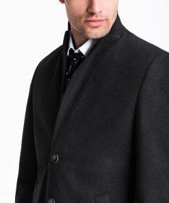 Juodas rudeninis paltas vyrams internetu pigiau C425 13971-2