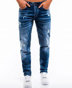 Mėlyni plešyti vyriški džinsai internetu pigiau P856 13977-1
