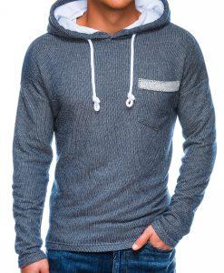 Tamsiai mėlynas vyriškas džemperis su gobtuvu internetu pigiau B963 14046-2
