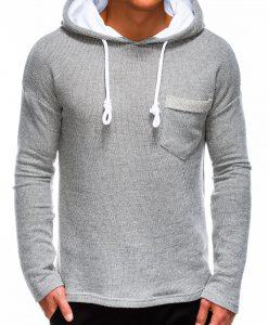 Pilkas vyriškas džemperis su gobtuvu internetu pigiau B963 14047-1