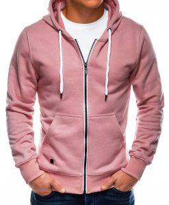 Šviesiai rožinis vyriškas džemperis su gobtuvu internetu pigiau B977 14049-2