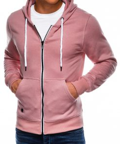 Šviesiai rožinis vyriškas džemperis su gobtuvu internetu pigiau B977 14049-3