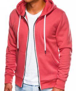 Koralinis vyriškas džemperis su gobtuvu interneu pigiau B977 14052-1