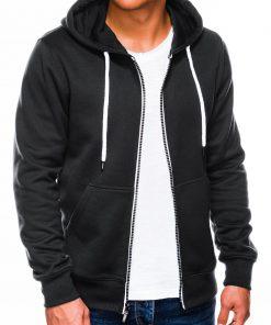 Juodas vyriškas džemperis su gobtuvu internetu pigiau B977 14057-1